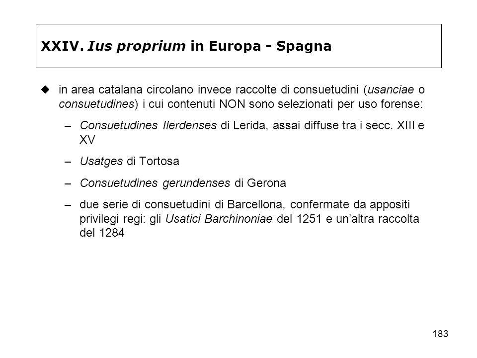 XXIV. Ius proprium in Europa - Spagna