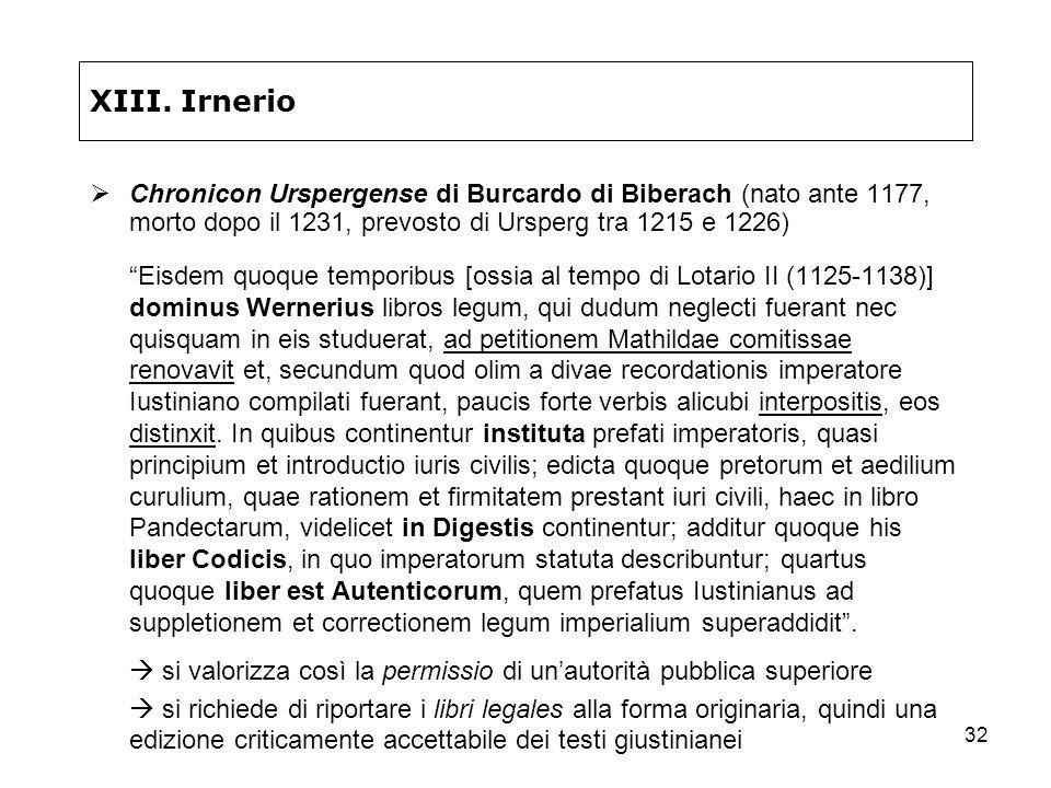 XIII. Irnerio Chronicon Urspergense di Burcardo di Biberach (nato ante 1177, morto dopo il 1231, prevosto di Ursperg tra 1215 e 1226)
