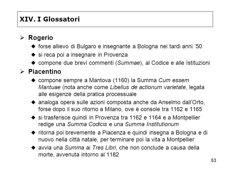 XIV. I Glossatori Rogerio Piacentino