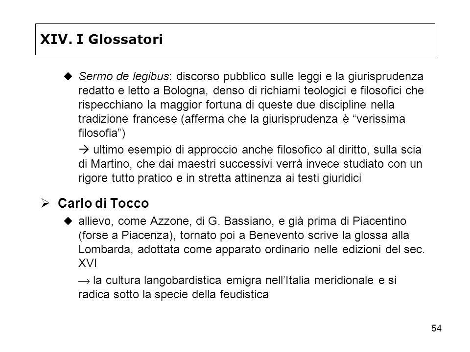 XIV. I Glossatori Carlo di Tocco