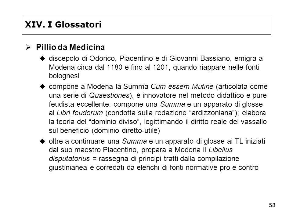 XIV. I Glossatori Pillio da Medicina