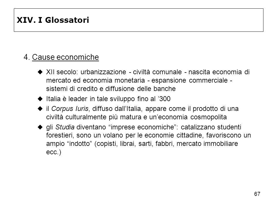 XIV. I Glossatori 4. Cause economiche