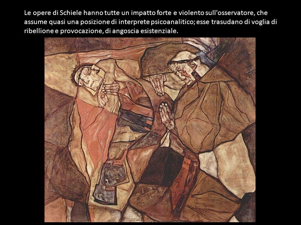 Le opere di Schiele hanno tutte un impatto forte e violento sull osservatore, che assume quasi una posizione di interprete psicoanalitico; esse trasudano di voglia di ribellione e provocazione, di angoscia esistenziale.