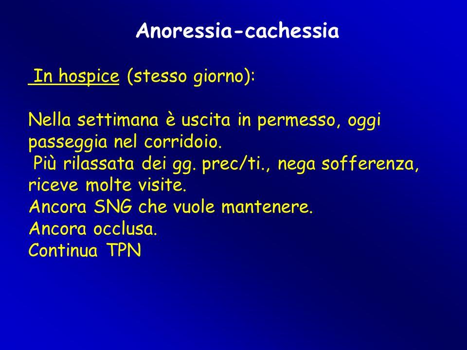 Anoressia-cachessia In hospice (stesso giorno):