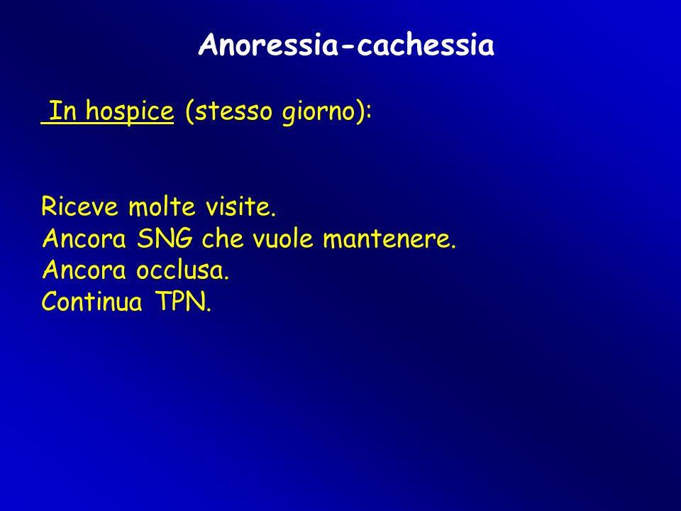 Anoressia-cachessia In hospice (stesso giorno): Riceve molte visite.