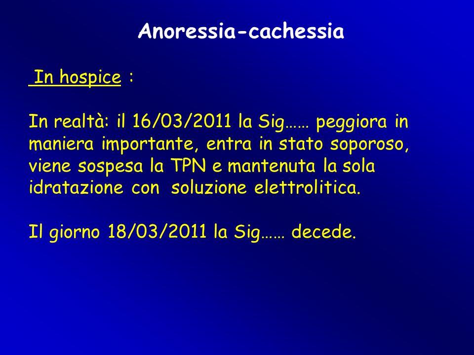 Anoressia-cachessia In hospice :