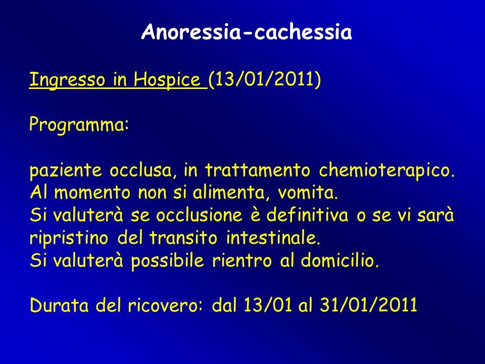 Anoressia-cachessia Ingresso in Hospice (13/01/2011) Programma: