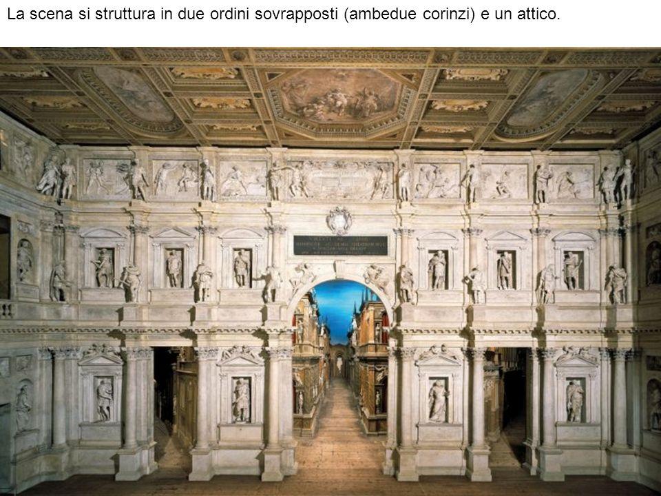 La scena si struttura in due ordini sovrapposti (ambedue corinzi) e un attico.