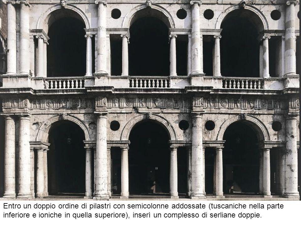 Entro un doppio ordine di pilastri con semicolonne addossate (tuscaniche nella parte inferiore e ioniche in quella superiore), inserì un complesso di serliane doppie.