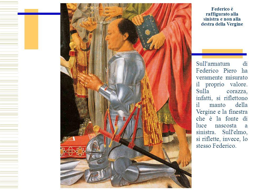 Federico è raffigurato alla sinistra e non alla destra della Vergine