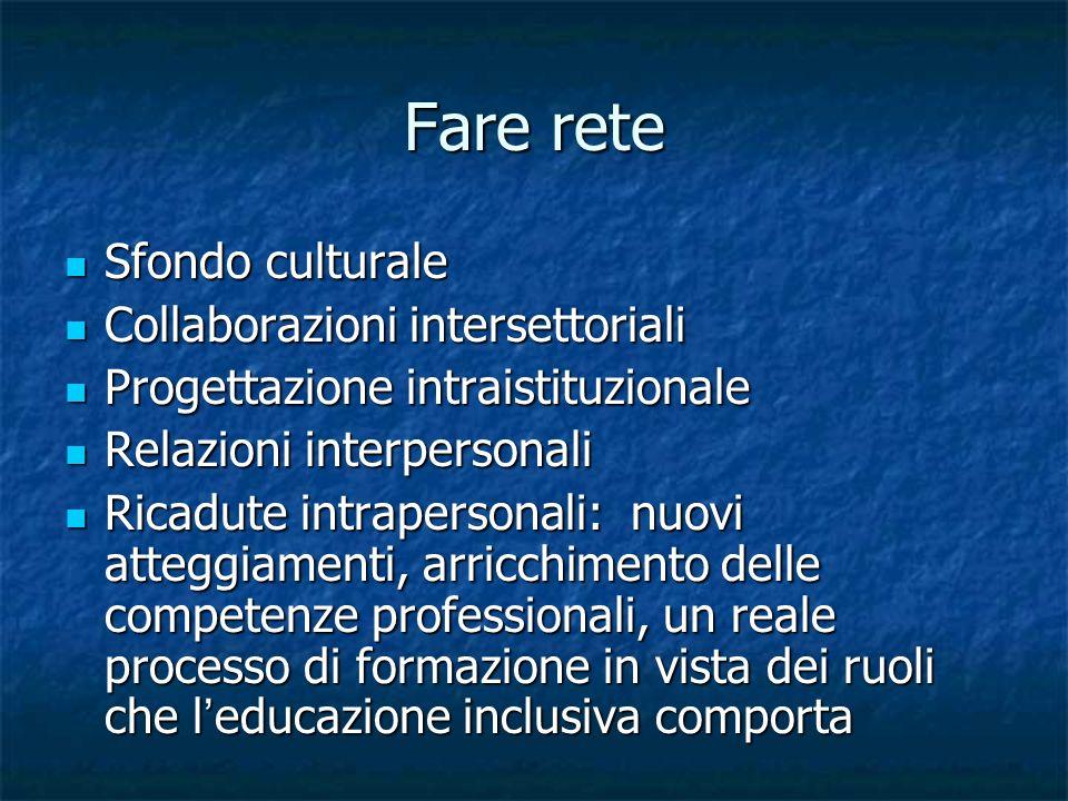 Fare rete Sfondo culturale Collaborazioni intersettoriali