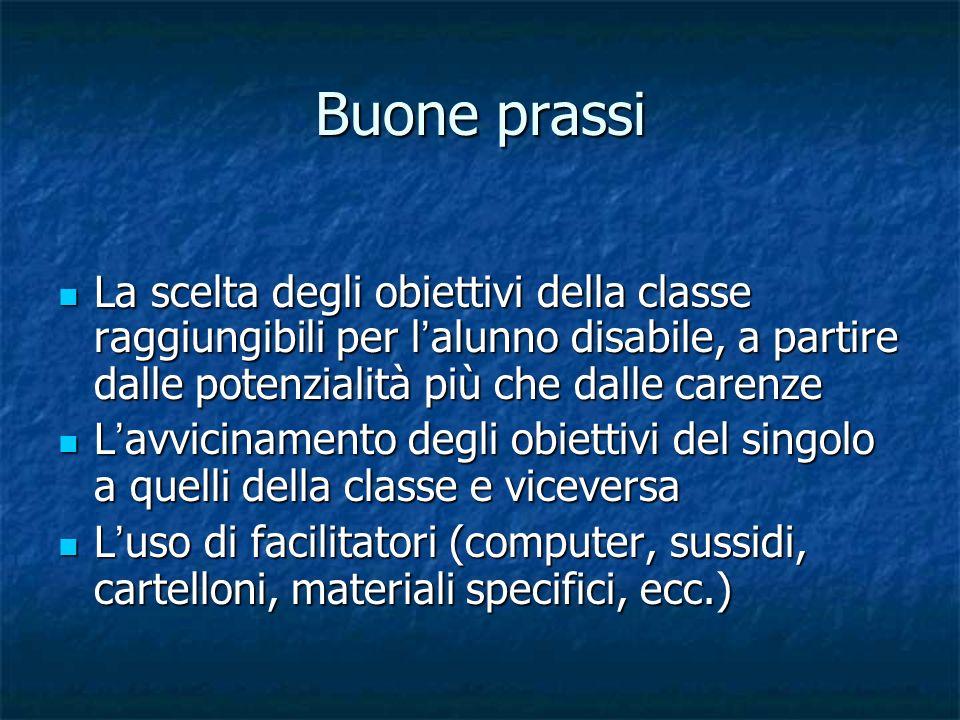Buone prassi La scelta degli obiettivi della classe raggiungibili per l'alunno disabile, a partire dalle potenzialità più che dalle carenze.