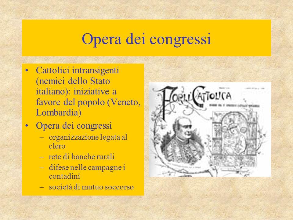 Opera dei congressi Cattolici intransigenti (nemici dello Stato italiano): iniziative a favore del popolo (Veneto, Lombardia)