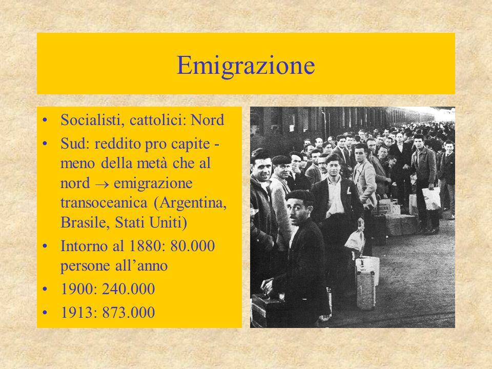 Emigrazione Socialisti, cattolici: Nord