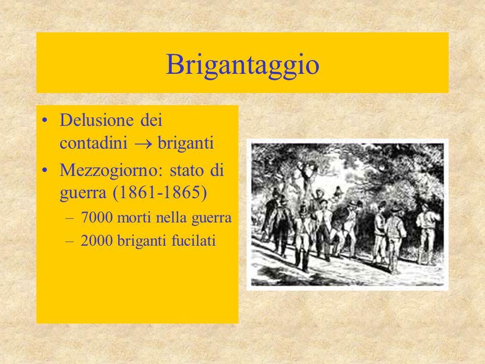 Brigantaggio Delusione dei contadini  briganti