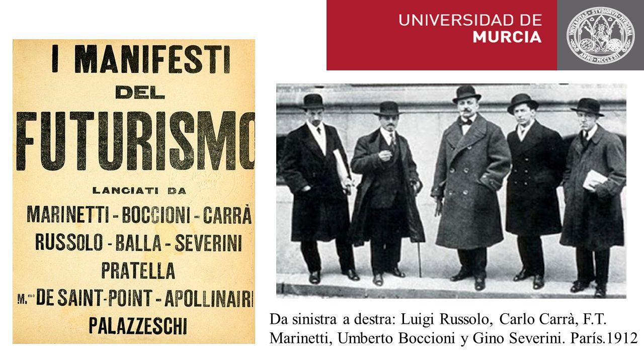 Da sinistra a destra: Luigi Russolo, Carlo Carrà, F. T