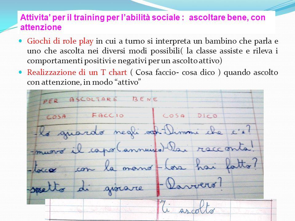 Attivita' per il training per l'abilità sociale : ascoltare bene, con attenzione