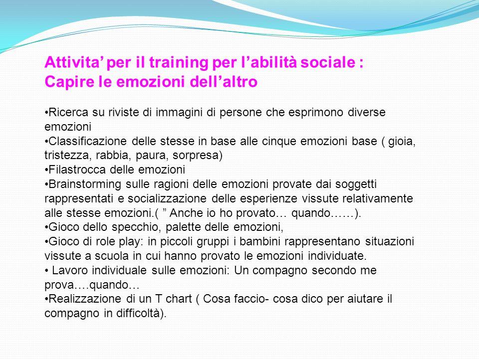 Attivita' per il training per l'abilità sociale : Capire le emozioni dell'altro