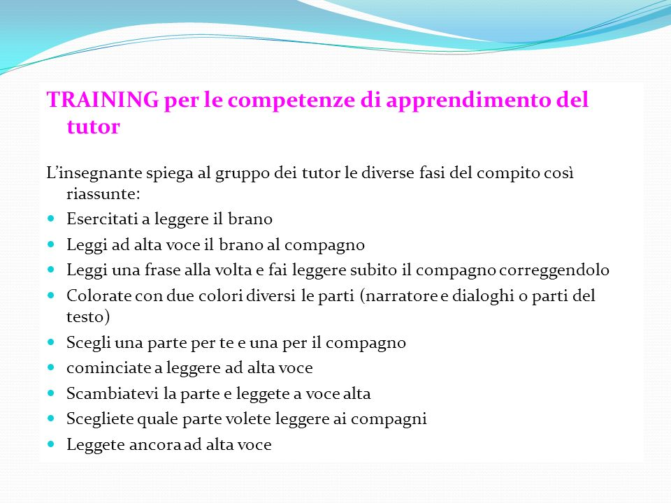 TRAINING per le competenze di apprendimento del tutor
