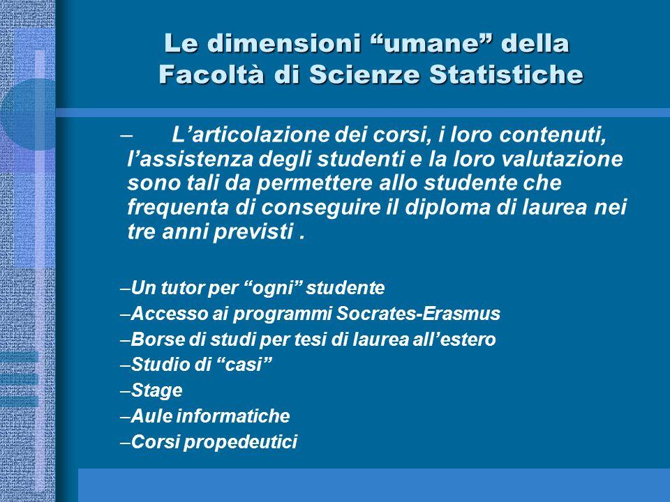Le dimensioni umane della Facoltà di Scienze Statistiche
