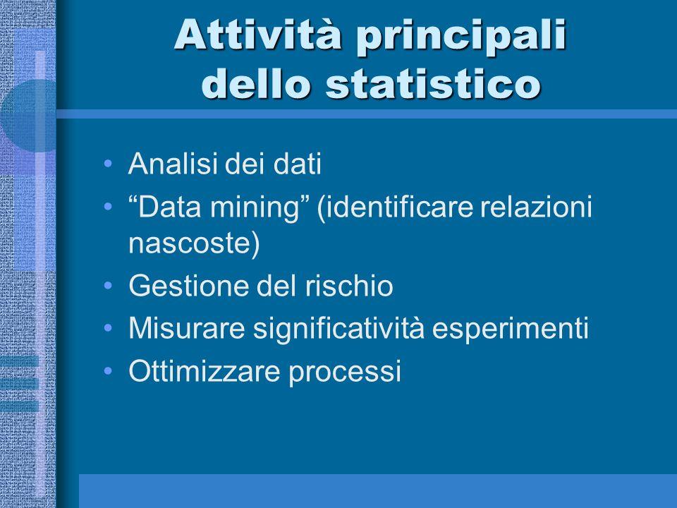 Attività principali dello statistico