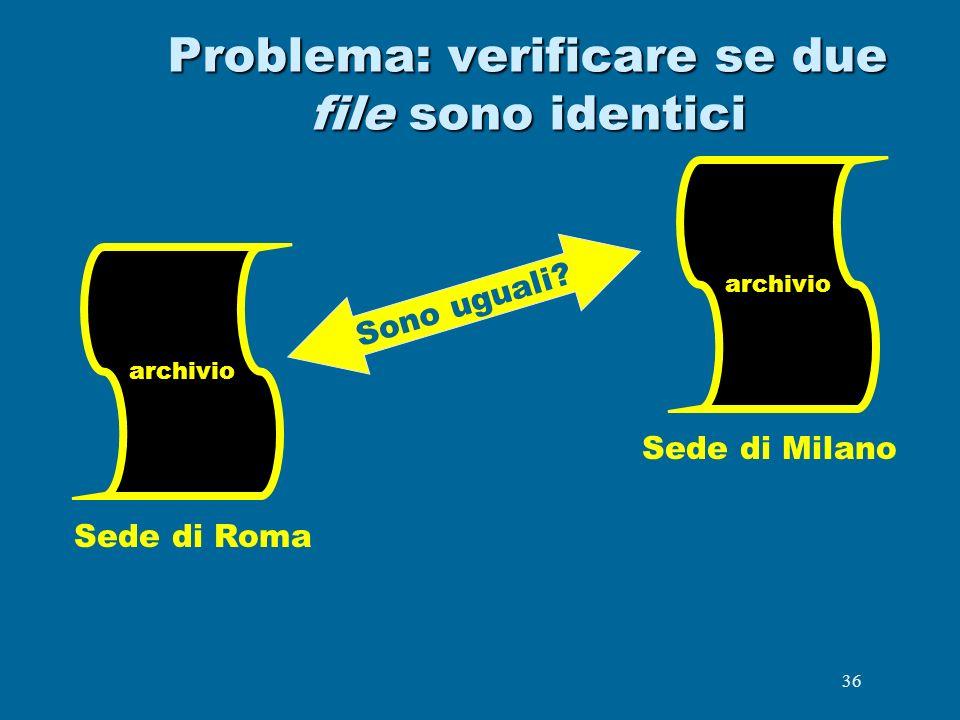 Problema: verificare se due file sono identici