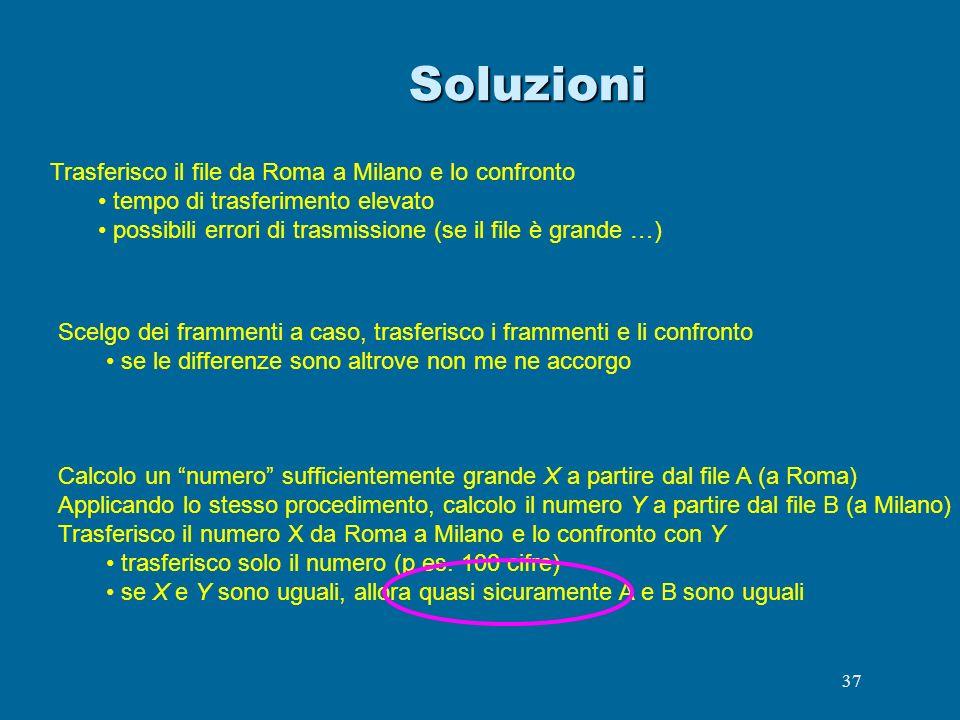 Soluzioni Trasferisco il file da Roma a Milano e lo confronto