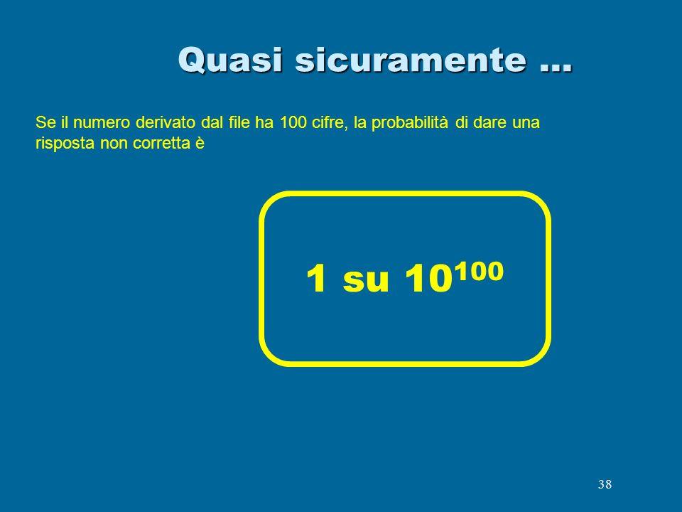 Quasi sicuramente …Se il numero derivato dal file ha 100 cifre, la probabilità di dare una risposta non corretta è.