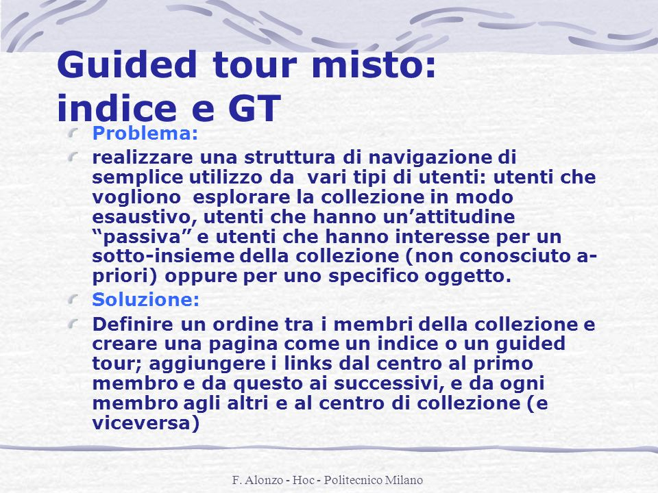 Guided tour misto: indice e GT