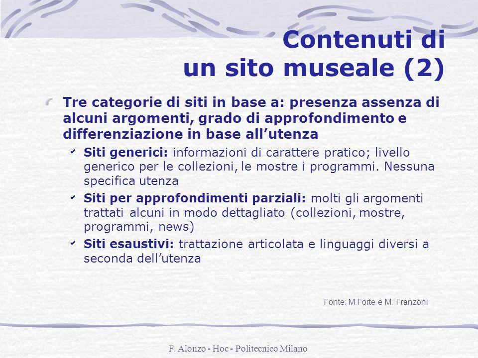 Contenuti di un sito museale (2)