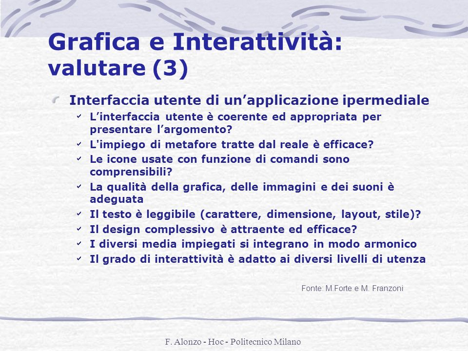 Grafica e Interattività: valutare (3)