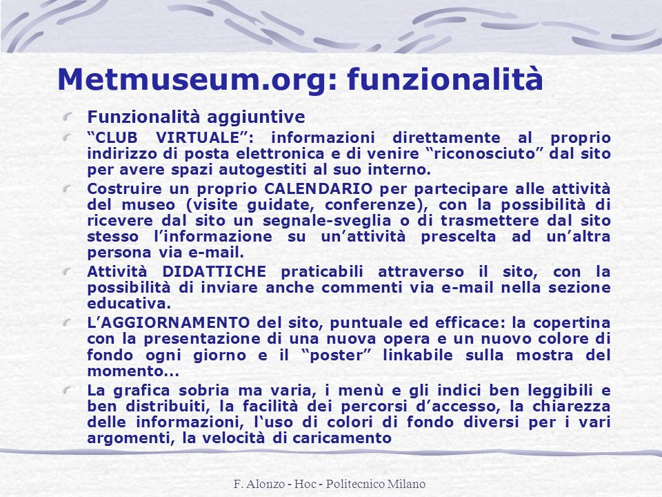 Metmuseum.org: funzionalità