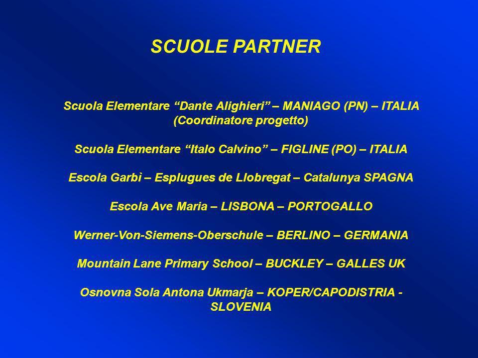 SCUOLE PARTNER Scuola Elementare Dante Alighieri – MANIAGO (PN) – ITALIA (Coordinatore progetto)