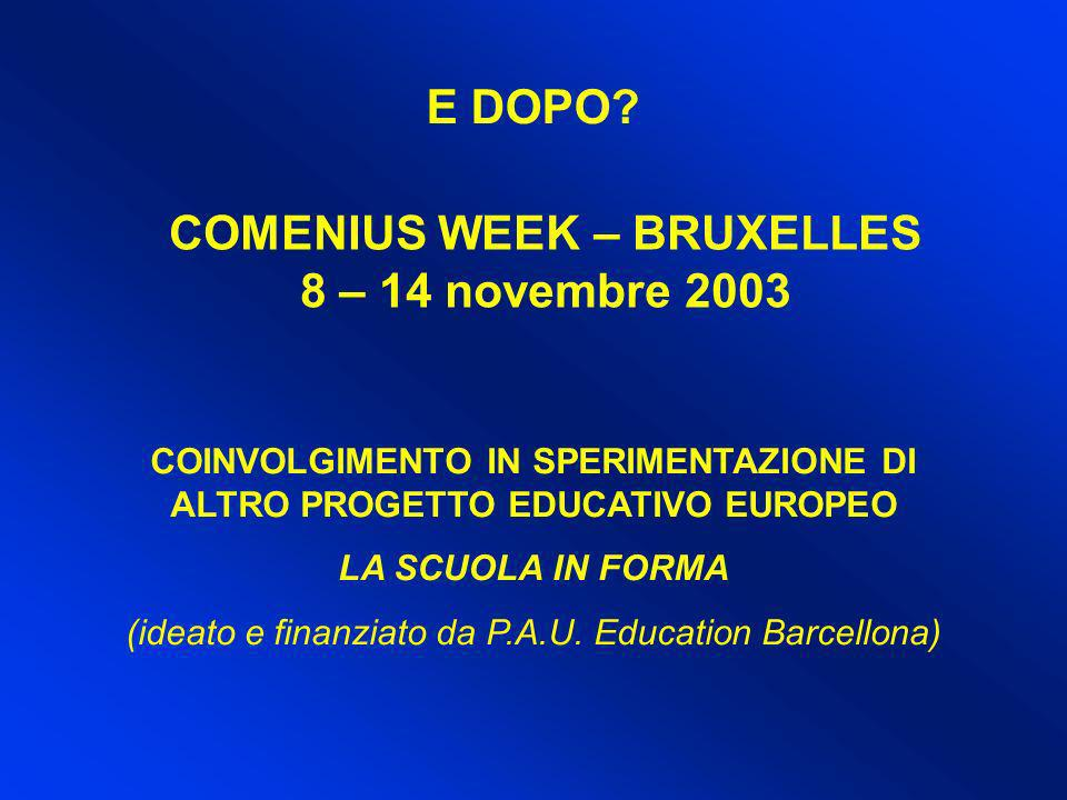 E DOPO COMENIUS WEEK – BRUXELLES 8 – 14 novembre 2003