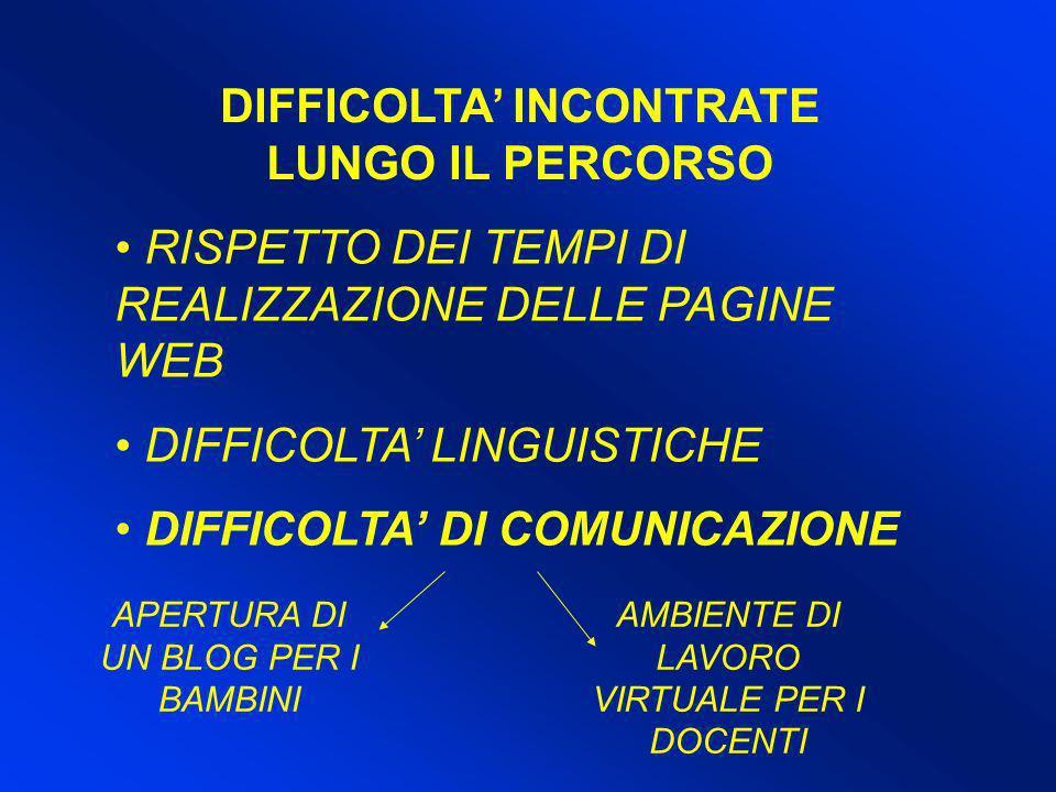 DIFFICOLTA' INCONTRATE LUNGO IL PERCORSO