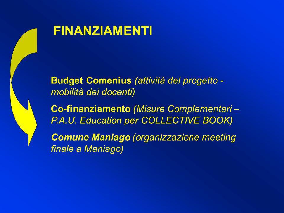 FINANZIAMENTI Budget Comenius (attività del progetto -mobilità dei docenti)