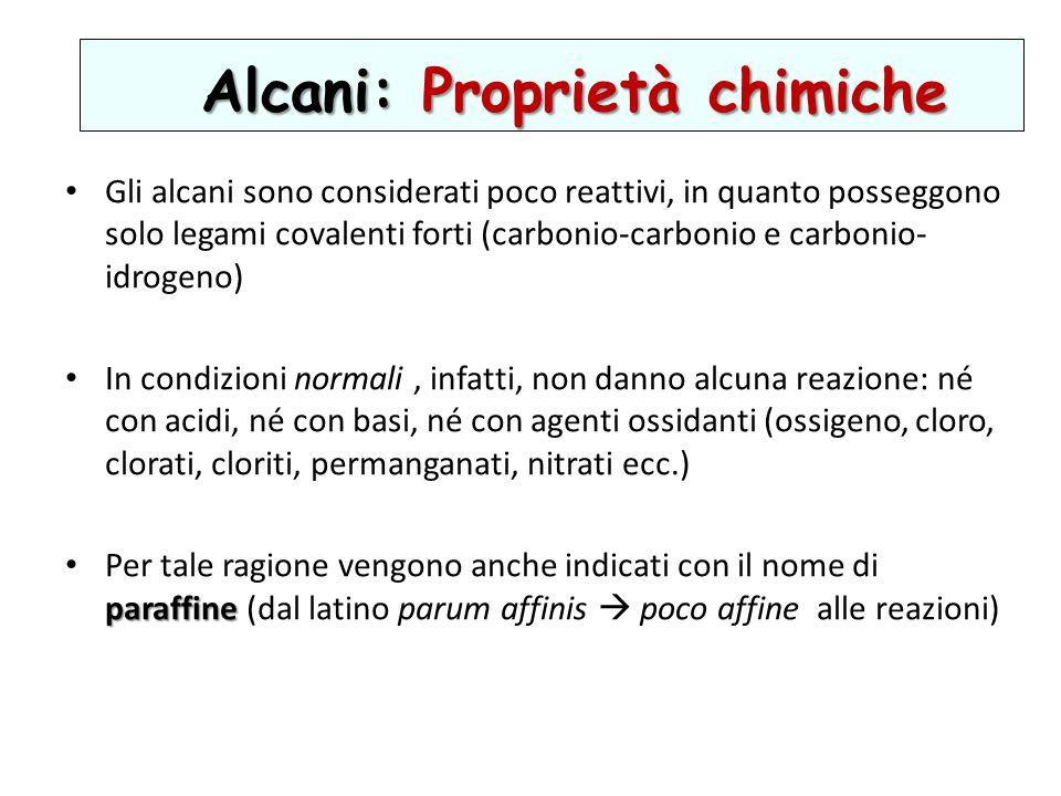 Alcani: Proprietà chimiche