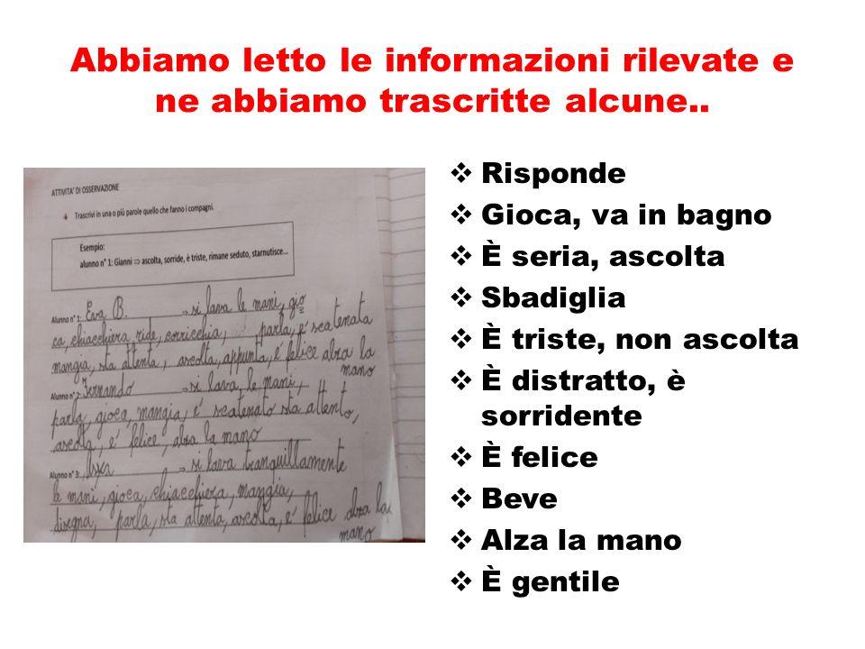 Abbiamo letto le informazioni rilevate e ne abbiamo trascritte alcune..