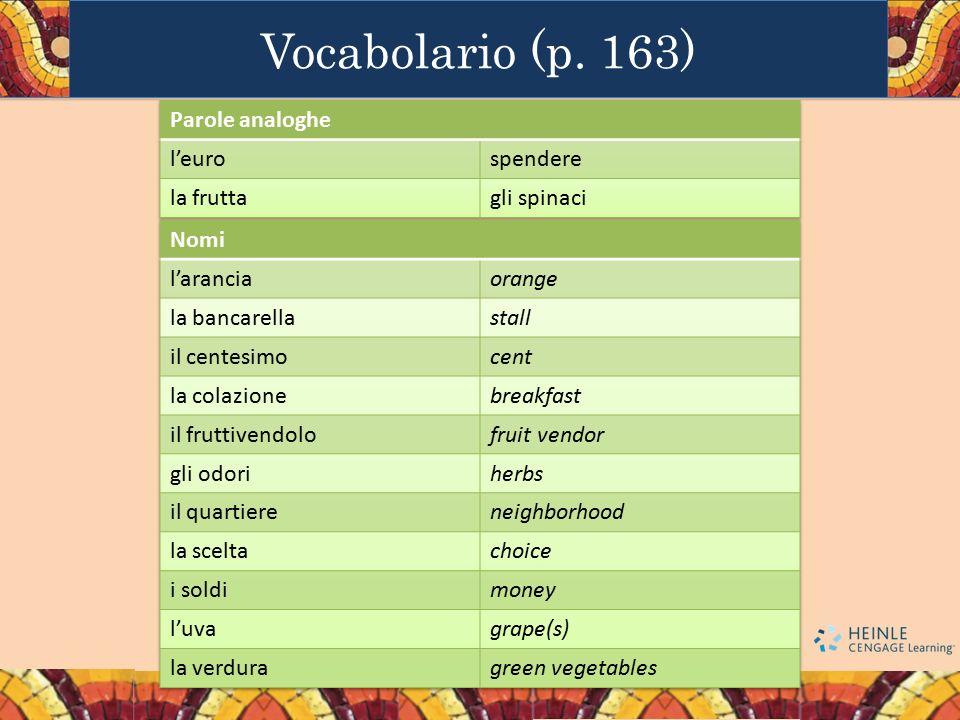 Vocabolario (p. 163) Parole analoghe l'euro spendere la frutta