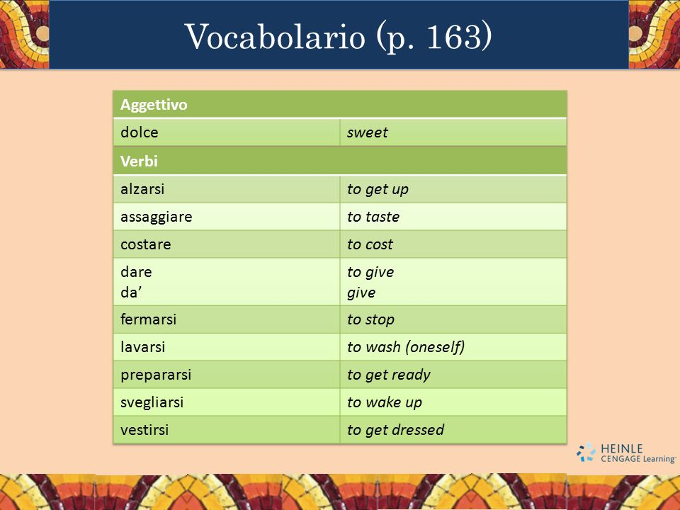 Vocabolario (p. 163) Aggettivo dolce sweet Verbi alzarsi to get up