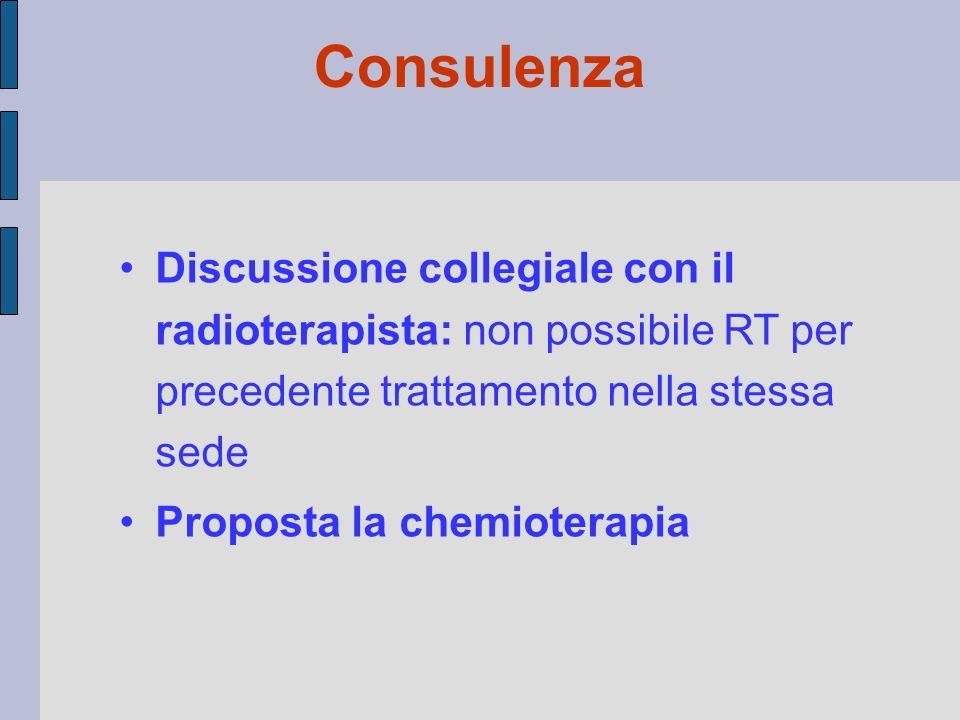 Consulenza Discussione collegiale con il radioterapista: non possibile RT per precedente trattamento nella stessa sede.