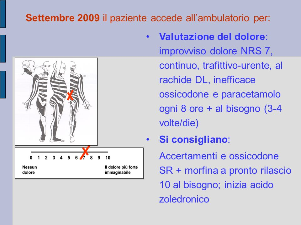 Settembre 2009 il paziente accede all'ambulatorio per: