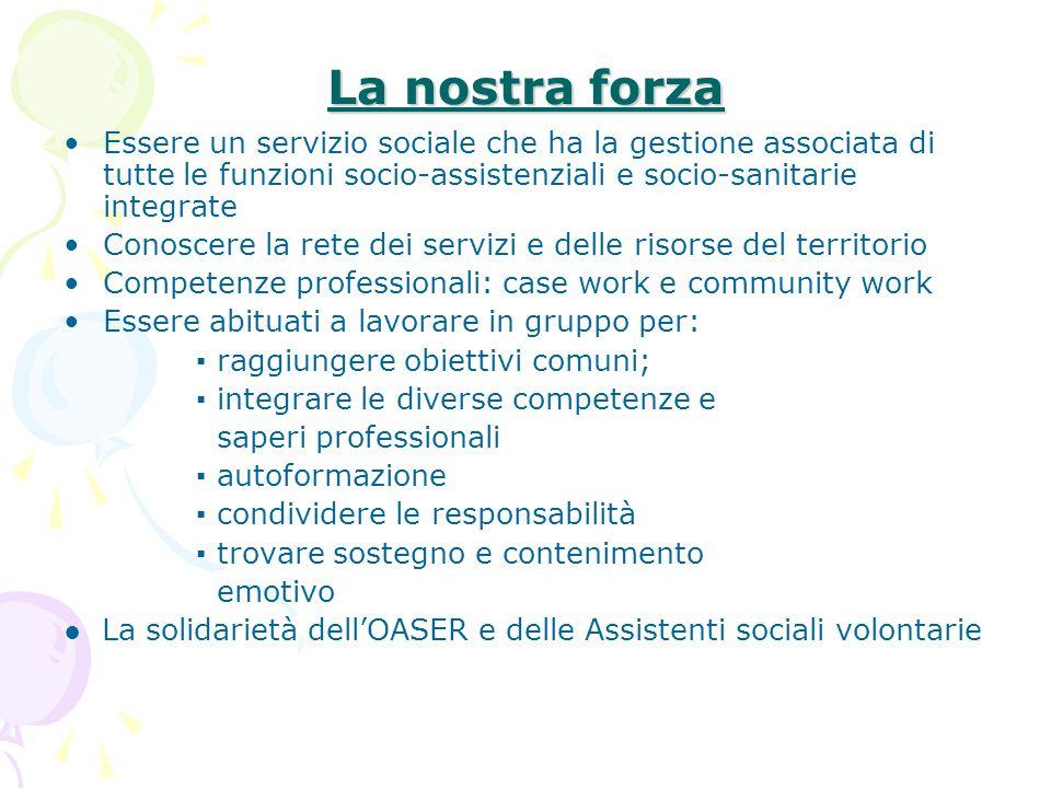 La nostra forza Essere un servizio sociale che ha la gestione associata di tutte le funzioni socio-assistenziali e socio-sanitarie integrate.
