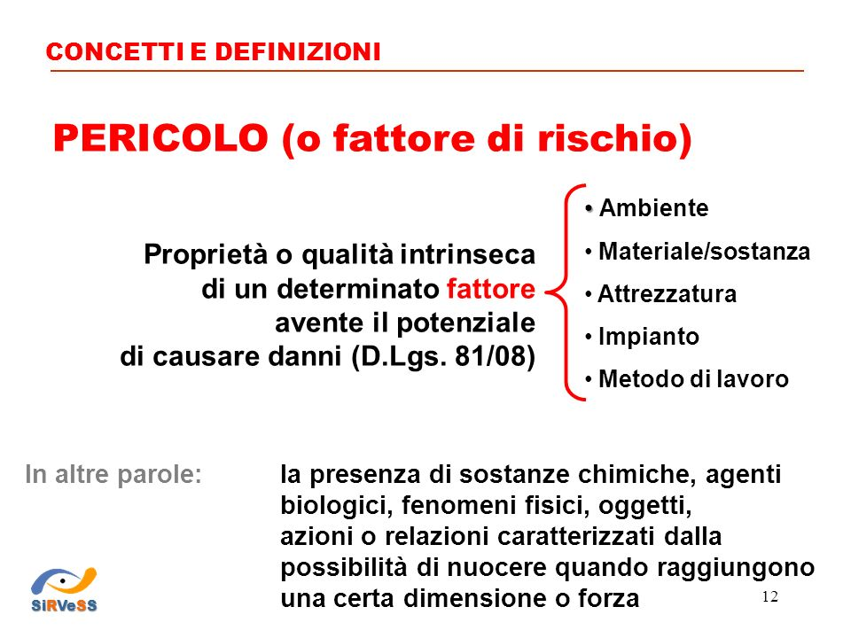 PERICOLO (o fattore di rischio)
