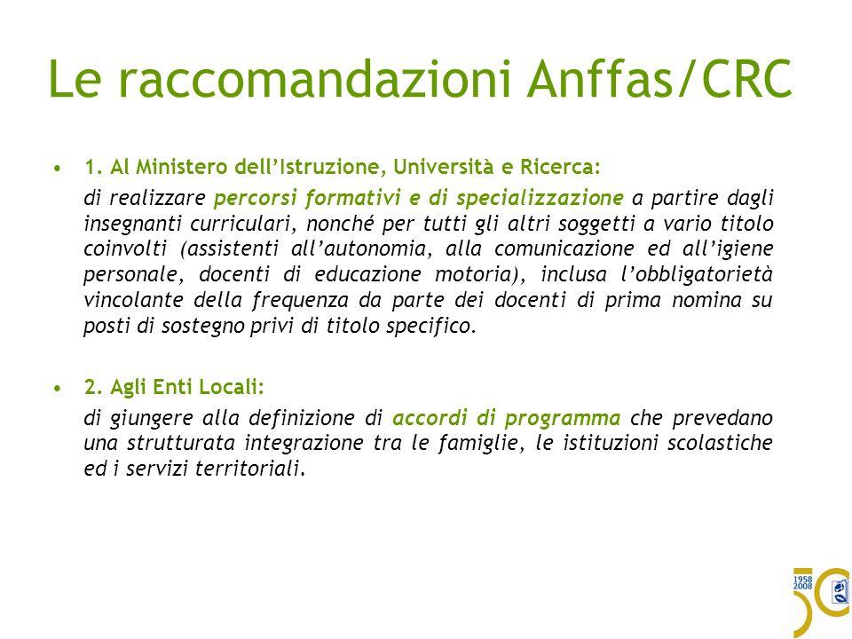 Le raccomandazioni Anffas/CRC