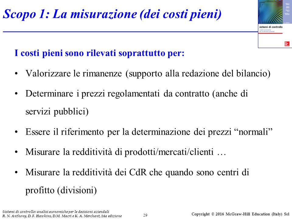 Scopo 1: La misurazione (dei costi pieni)