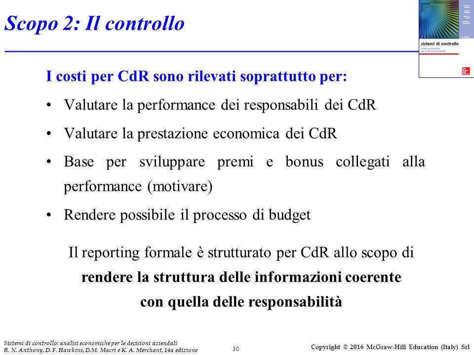 Scopo 2: Il controllo I costi per CdR sono rilevati soprattutto per: