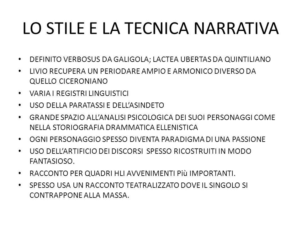 LO STILE E LA TECNICA NARRATIVA