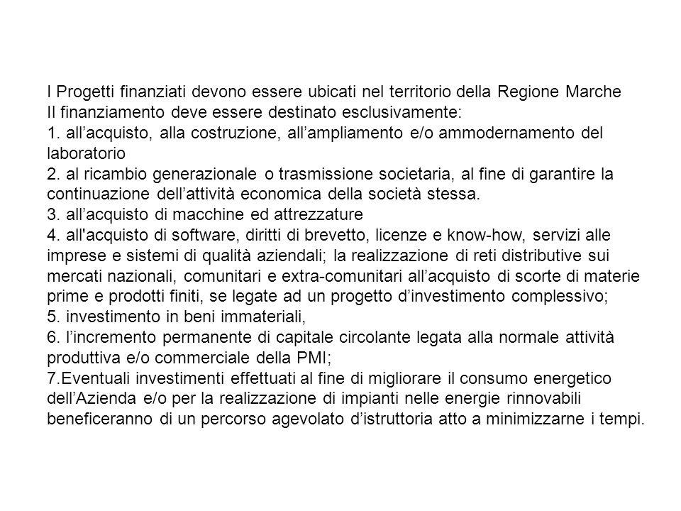 I Progetti finanziati devono essere ubicati nel territorio della Regione Marche