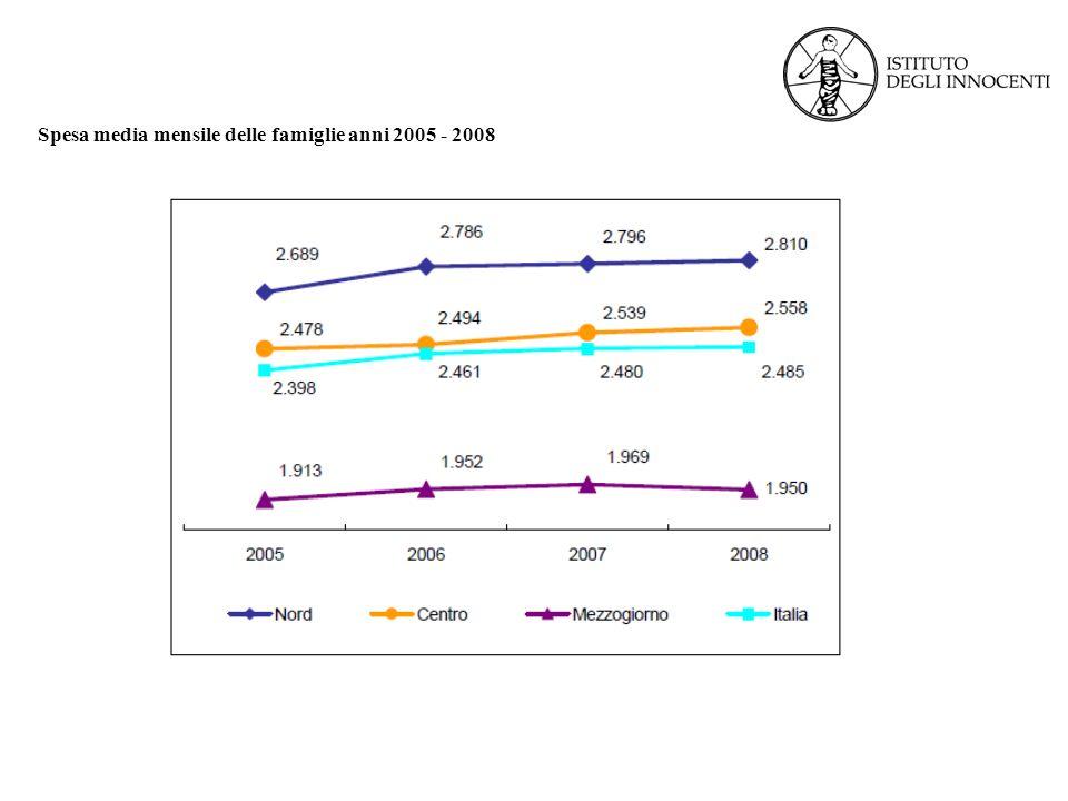 Spesa media mensile delle famiglie anni 2005 - 2008